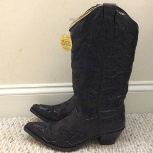 Corral Shoes - 🆕CORRAL black leather shimmer sequin sparkle boot
